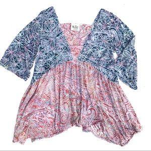 Go Fish Clothing Co. Boho Lagenlook Paisley Top